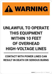 Warning: Unlawful to Operate This Equipment Within 10 Feet - Portrait Wall Sign