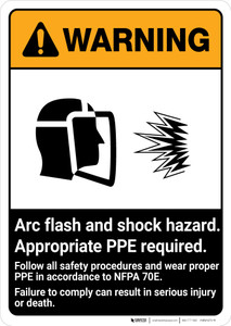 Warning: Arc Flash Shock Hazard - PPE Required ANSI - Portrait Wall Sign