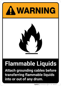 Warning: Flammable Liquids Attach Grounding Cables Before Transferring ANSI - Portrait Wall Sign