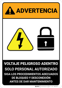 Warning: Hazardous Voltage Follow Lockout Procedures Spanish ANSI - Portrait Wall Sign