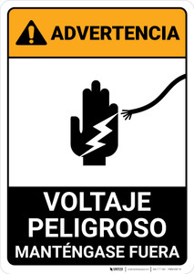Warning: Hazardous Voltage - Keep Away Spanish ANSI - Portrait Wall Sign