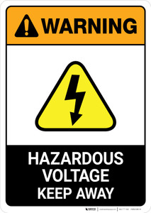 Warning: Hazardous Voltage - Keep Away with Pictogram ANSI - Portrait Wall Sign
