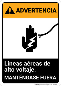 Warning: Hazardous Voltage Overhead Spanish ANSI - Portrait Wall Sign