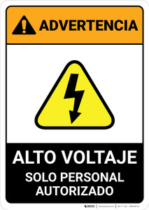 Warning: High Voltage - Authorized Personnel Only Spanish ANSI - Portrait Wall Sign