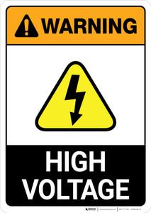 Warning: High Voltage ANSI - Portrait Wall Sign