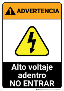 Warning: High Voltage Inside - Do Not Enter Spanish ANSI - Portrait Wall Sign