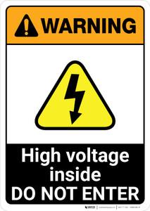 Warning: High Voltage Inside - Do Not Enter ANSI - Portrait Wall Sign