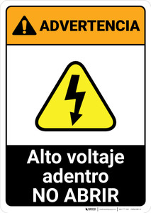 Warning: High Voltage Inside - Do Not Open Spanish ANSI - Portrait Wall Sign