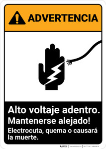 Warning: High Voltage Inside - Keep Out Spanish ANSI - Portrait Wall Sign