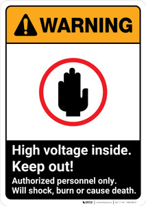 Warning: High Voltage Inside - Keep Out ANSI - Portrait Wall Sign