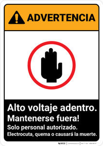 Warning: High Voltage Inside - Keep Spanish ANSI - Portrait Wall Sign