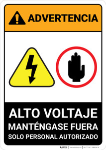 Warning: High Voltage - Keep Away Spanish - Portrait Wall Sign