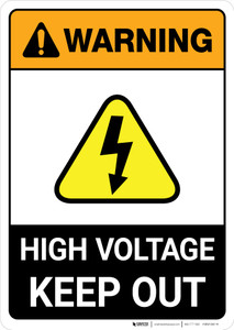 Warning: High Voltage - Keep Out Authorized Personnel Only ANSI - Portrait Wall Sign