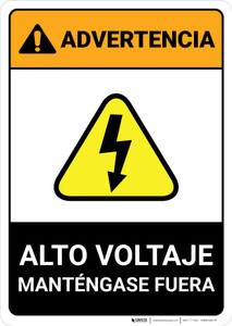 Warning: High Voltage - Keep Out Spanish ANSI - Portrait Wall Sign