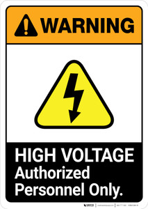 Warning: High Voltage - Keep Out ANSI - Portrait Wall Sign
