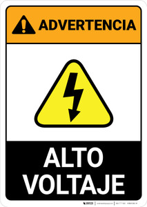 Warning: High Voltage Spanish ANSI - Portrait Wall Sign