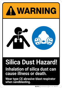 Warning: Silica Dust Hazard - Inhalation Can Cause Illness ANSI - Portrait Wall Sign
