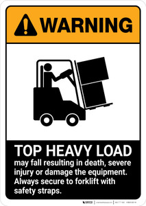 Warning: Top Heavy Load - Forklift Safety ANSI - Portrait Wall Sign