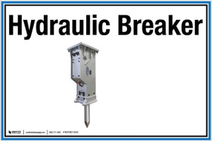 """Wall Sign: (UR) Hydraulic Breaker - 12""""x18"""" (Peel-and-Stick Permanent Adhesive)"""