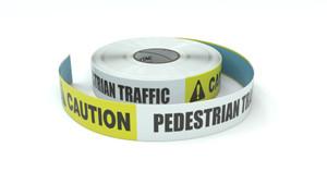 Caution: Pedestrian Traffic - Inline Printed Floor Marking Tape