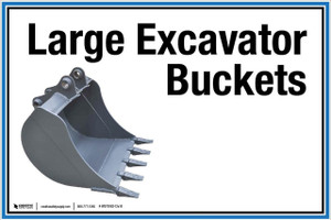 """Wall Sign: (UR) Large Excavator Buckets - 12""""x18"""" (Peel-and-Stick Permanent Adhesive)"""