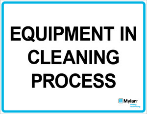 """Wall Sign: (Mylan Logo) Equipment in Cleaning Process 11""""x14"""" (Mounted on 3mm PVC)"""