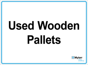 """Wall Sign: (Mylan Logo) Used Wooden Pallets15""""x20"""" (Mounted on 3mm PVC)"""