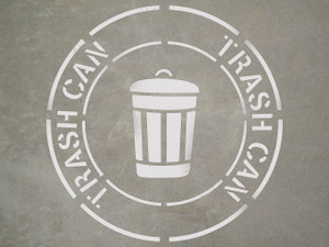 "Trash Can - 24"" x 24"" stencil"