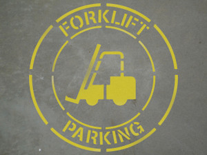 "Forklift Parking - 24"" x 24"" stencil"