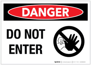 Danger: Do Not Enter - Stop Hand - Label