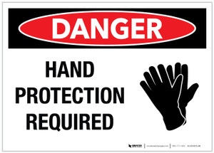 Danger: Hand Protection Required - Label