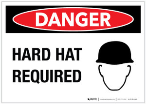 Danger: Hard Hat Required - Label