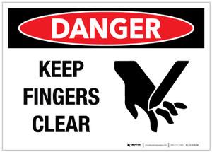 Danger: Keep Fingers Clear - Label