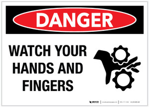 Danger: Watch Your Hands And Fingers - Label