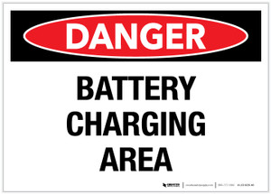Danger: Battery Charging Area - Label