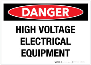 Danger: High Voltage Electrical Equipment - Label