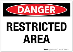 Danger: Restricted Area - Label