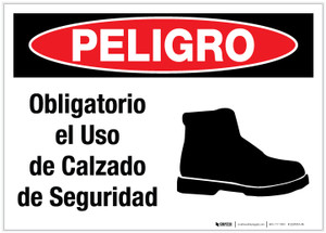 Danger: Foot Protection Required with Graphic (Spanish) - Label