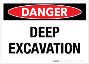 Danger: Deep Excavation - Label