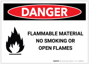Danger: Flammable Material/No Smoking or Open Flame with Graphic - Label
