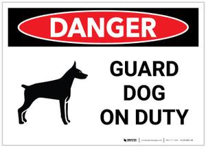 Danger: Guard Dog on Duty - Label