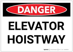 Danger: Elevator Hoistway Landscape - Label