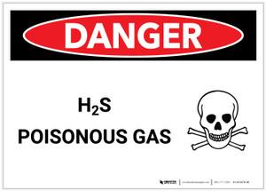 Danger: H2S Poisonous Gas (Hydrogen Sulfide) - Label