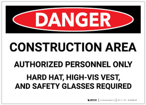 Danger: Construciton Area - Hard Hat, High-Vis Vest, Safety Glasses Required - Label