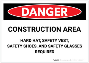 Danger: Construction Area - Hard Hat, Safety vest, Safety Shoes, Safety Glasses Required - Label