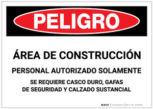 Danger: Construction Area/Authorized Personnel Only - PPE Required (Spanish) - Label