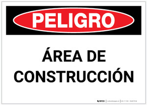 Danger: Construction Area (Spanish) - Label