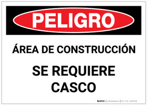 Danger: Construction Area - Hard Hat Required (Spanish) - Label