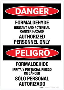 Danger: Formaldehyde - Authorized Personnel Only (Spanish Bilingual) - Label