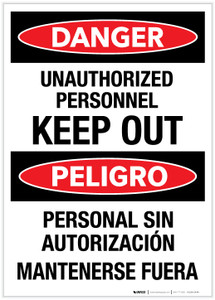 Danger: Unauthorized Personnel - Keep Out (Spanish Blingual) - Label